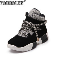 YOUGOLUN - Winter Women Ankle Boots Cow Suede Snow Boots Cross tied Mixed Colors Wedges Black Warm Shoes #Y-001