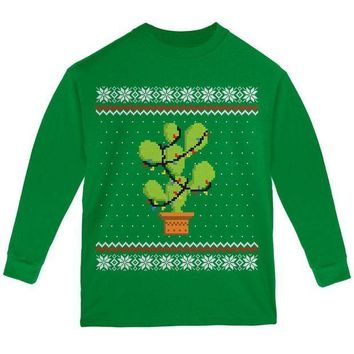 CREYON Cactus Prickly Pear Tree Ugly Christmas Sweater Youth Long Sleeve T Shirt