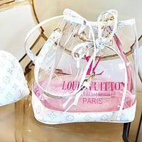 Inseva Louis Vuitton Two-piece LV transparent jelly bucket bag letters print Bucket bag