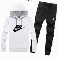 Nike tide brand men and women fashion leisure suits  White + black