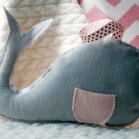 Tooth Fairy Pillow, Handmade Nursery Decor, Baby Shower Gifts, Kids Room Decor, Birthday Gift, Travel Pillow, Plush Toy, PINK WHALE 2