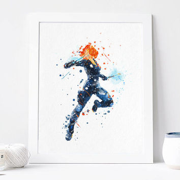 Black Widow - Watercolor, Art Print, Home Wall decor, Watercolor Print, Marvel Avengers Poster