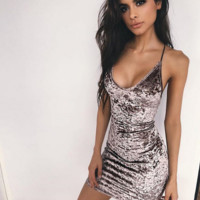 Hot sale fashion sexy straps show thin backless dress
