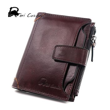 DERI CUZDAN 2017 New Brand Men Wallets Leather Genuine Short Coin Pocket Male Purse Card Holder Wallet Fashion Small Man Wallet
