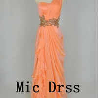 High quality One-shoulder Sleeveless Chiffon Pleated Sequins Beads Long Prom/Evening/Party/Homecoming/Bridesmaid/Cocktail/Formal Dress
