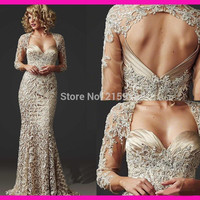 Evening dress lace 2016  Sleeves Lace Appliques Stain Beading Evening Gown for Party prom dress beaded Wedding Custom Made