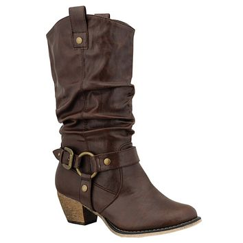 Kickin' it in Style-Brown Western Style Ankle Boots