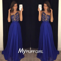 2016 Royal Blue One Shoulder Chiffon Prom Dress With Sheer Lace Appliques Bodice