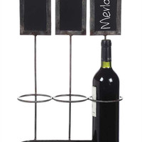 3 Bottle Metal Wine Holder with Individual Chalkboards - 17-1/4-in