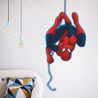 Flying Spiderman Wall Decor Kids Room Decor Avengers Diy Home Decals Cartoon Movie Wall Stickers Art Peel And Stick