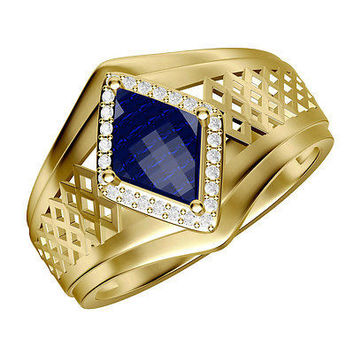 2.12 Blue Gematone  Solitaire Stud sterling silver wedding Ring with free ship