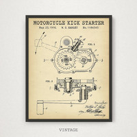 Motorcycle Kick Starter Patent Art, Motorcycle Parts Poster, Instant Download Blueprint Art Engine Starter Harley Davidson Patents Boys Gift