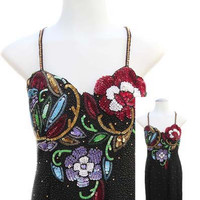 Evening Dress with Sequins and Beading in Multi Color Floral Design - Fits Size Large