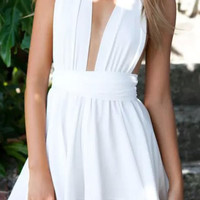 Plunging Neck Crossover Halter Pleated Romper