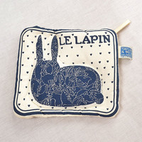 Vintage 70s Taylor and Ng Le Lapin Orgy Pot Holder 1970s Quilted White + Blue Naughty French Bunny Rabbit Hot Pad Kitsch Home Decor