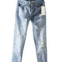 Lightwash Blue Ripped Straight Jeans