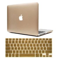 Macbook Pro 13 Case, Dealgadgets Frosted Matte Surface Crystal Hard Shell Case for MacBook Pro 13.3-inch A1278 Aluminum Unibody with Silicone Keyboard Cover Skin Stickers Protector Gold (NOT compatible with: MacBook 13.3 inch with retina display)
