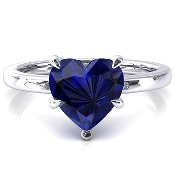 Maise Heart Blue Sapphire 5 Prong Diamond Accent Engagement Ring