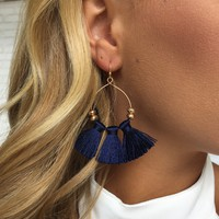 Navy Blue Fringe Hoop Earrings