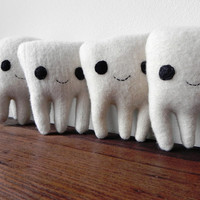 the Sweet Tooth - plush wool tooth fairy pillow