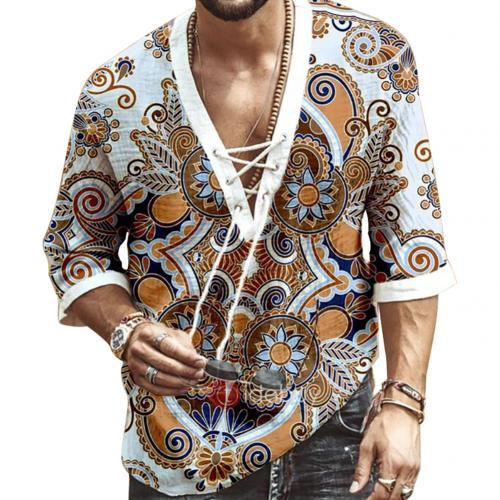 Image of Men Fashion Half Sleeve V Neck Floral Print Chest Lace-up Shirt T-shirt Top Casual Male Tees Loose Fashion Tops