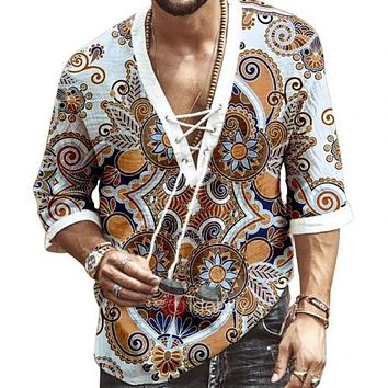 Men Fashion Half Sleeve V Neck Floral Print Chest Lace-up Shirt T-shirt Top Casual Male Tees Loose Fashion Tops