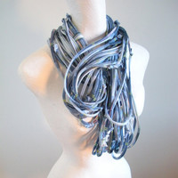 Blue Plaid Infinity Loop Scarf Repurposed Clothing Cowl Scarf Upcycled Winter Accessories Gifts Under 75 Black Friday Etsy Cyber Monday Etsy