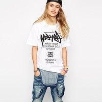 """Stussy"" Unisex Fashion Casual Letter Print Loose Short Sleeve Couple Shirt Top Tee"