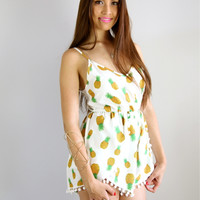 PINEAPPLE POM POM WRAP CROSSOVER LOW BACK SLOUCH PLAYSUIT JUMPSUIT 6 8 10 12