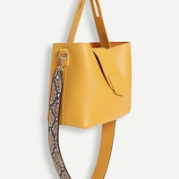 PU Satchel Bag With Snakeskin Print Strap