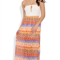 Strapless Maxi Dress with Crochet Lace Bodice and Tribal Skirt