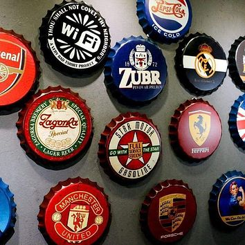 Vintage Beer Bottle Cap Wall Decor Signs