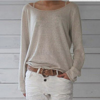 Khaki Boat Neck Long Sleeve Knit Shirt