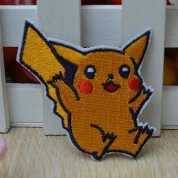 PIKACHU  EMBROIDERED BADGE LOGO IRON ON PATCH   Kawaii Pokemon go  AT_89_9