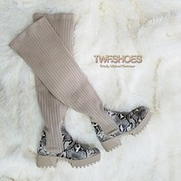 Colorado Metis Nude Snake Knit Thigh High Sock Platform Combat Boots 6 -11