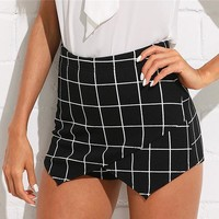 Plaid Shorts Women High Waist Skinny Shorts Office Work Wear Asymmetrical Elegant Shorts