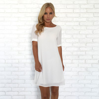 Take The Lead Shift Dress In White