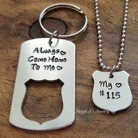 Always Come Home To Me Police Badge Keychain & Necklace Set, Gift for Him, Hand Stamped Police Officer Gift, Police Officer/Wife Gift Set