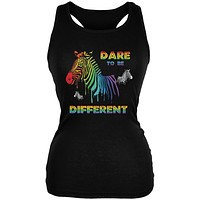 Gay Pride LGBT Dare To Be Different Black Juniors Soft Tank Top