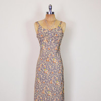 Vintage 90s Taupe Brown Floral Dress Floral Print Dress Floral Maxi Dress Sundress Sun Dress 90s Dress 90s Grunge Dress XS Extra Small S
