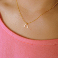 Little Dainty Necklace 14K gold filled with Tiny Triangle brass gold plated - pendant necklace - geometric jewelry