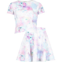 River Island Girls blue floral top and skirt outfit