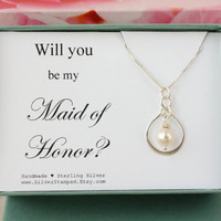 Will you be my Maid of Honor Gift sterling silver necklace thank you gift for Maid of Honor, Bridesmaids jewelry, bridal party gift