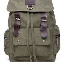Olive Canvas and Leather Backpack