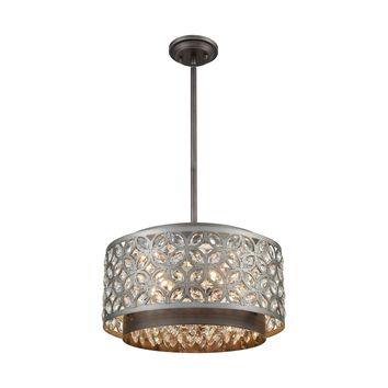 Rosslyn 5-Light Chandelier in Weathered Zinc and Matte Silver with Crystal and Metalwork Shade