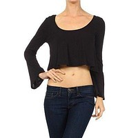Sexy Wide Scoop Neck Flare Bell Sleeve Cropped Top Crochet Lace Tee Shirt Blouse