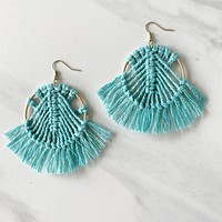 Dream Catcher Fringe Tassel Earring in Aqua
