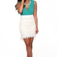 Green with Envy Dress with Crochet Ivory Skirt