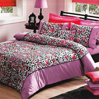 Custom Queen or Full Size Black Leopard Ranforce Bedding Set with Fuchsia Pink, Red Kisses - Dark Pink, Plum Sheet,