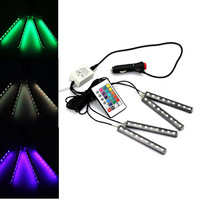 2016 4strip set Interior Decorative Atmosphere Neon Light Lamp LED Wireless Remote Multi Color RGB Car Lighter Free Shipping